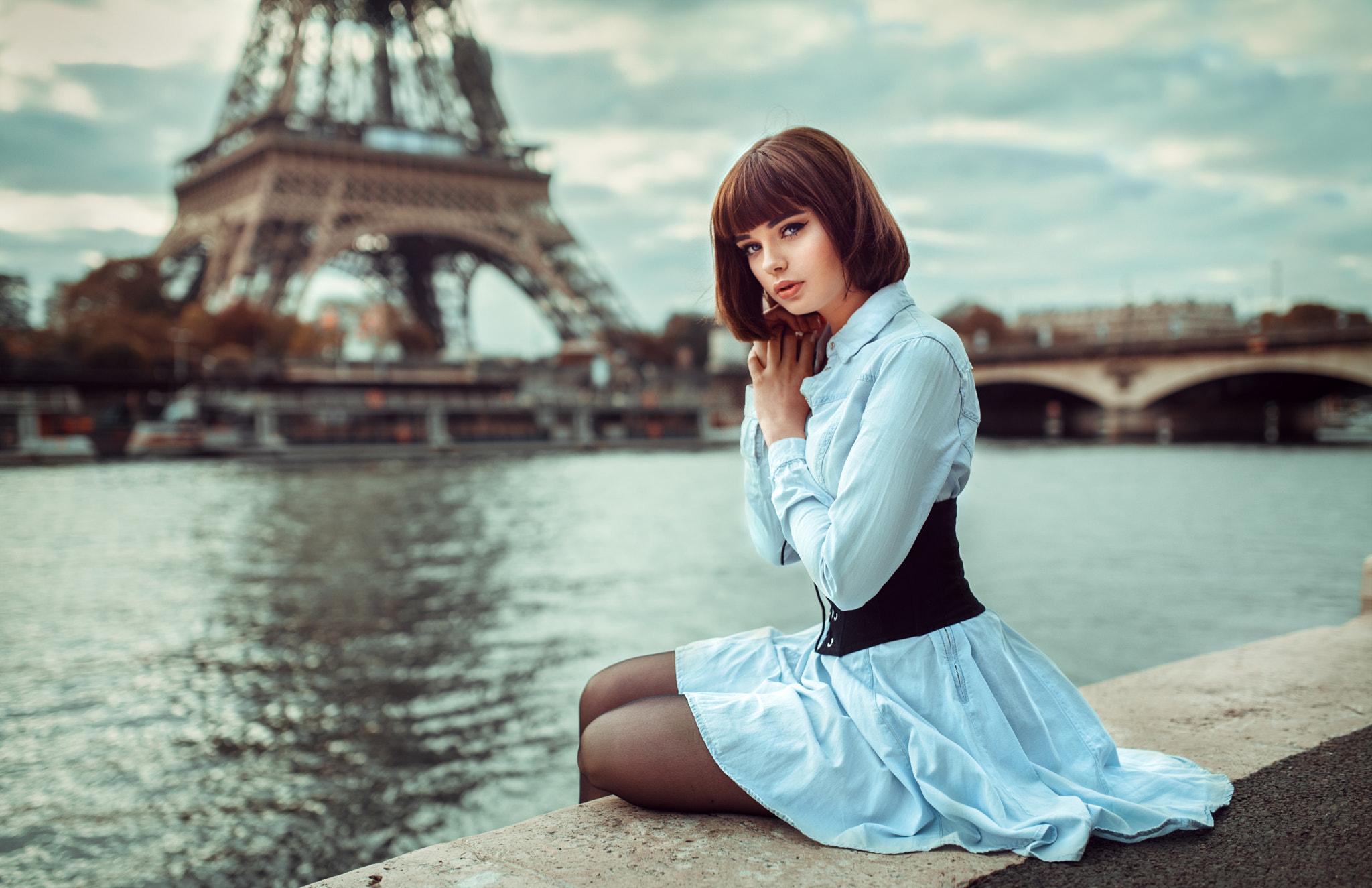 Wallpaper Women Portrait Lods Franck Brunette Open Mouth Blue Dress Sitting Paris Eiffel Tower Seine Looking At Viewer Corset Marie Grippon Panty Hose 2048x1325 Venom 1212215 Hd Wallpapers Wallhere