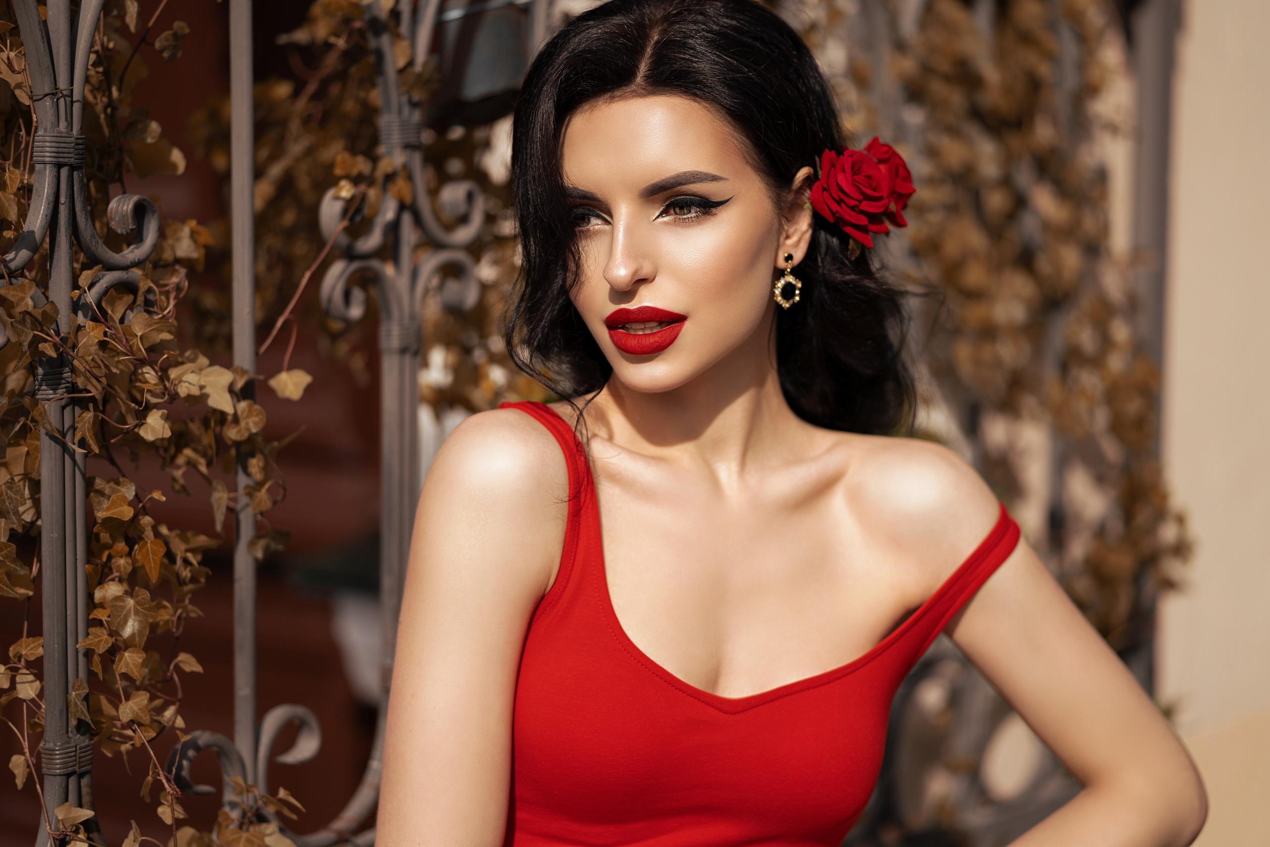 hintergrundbilder : frau, porträt, rotes kleid, blumen