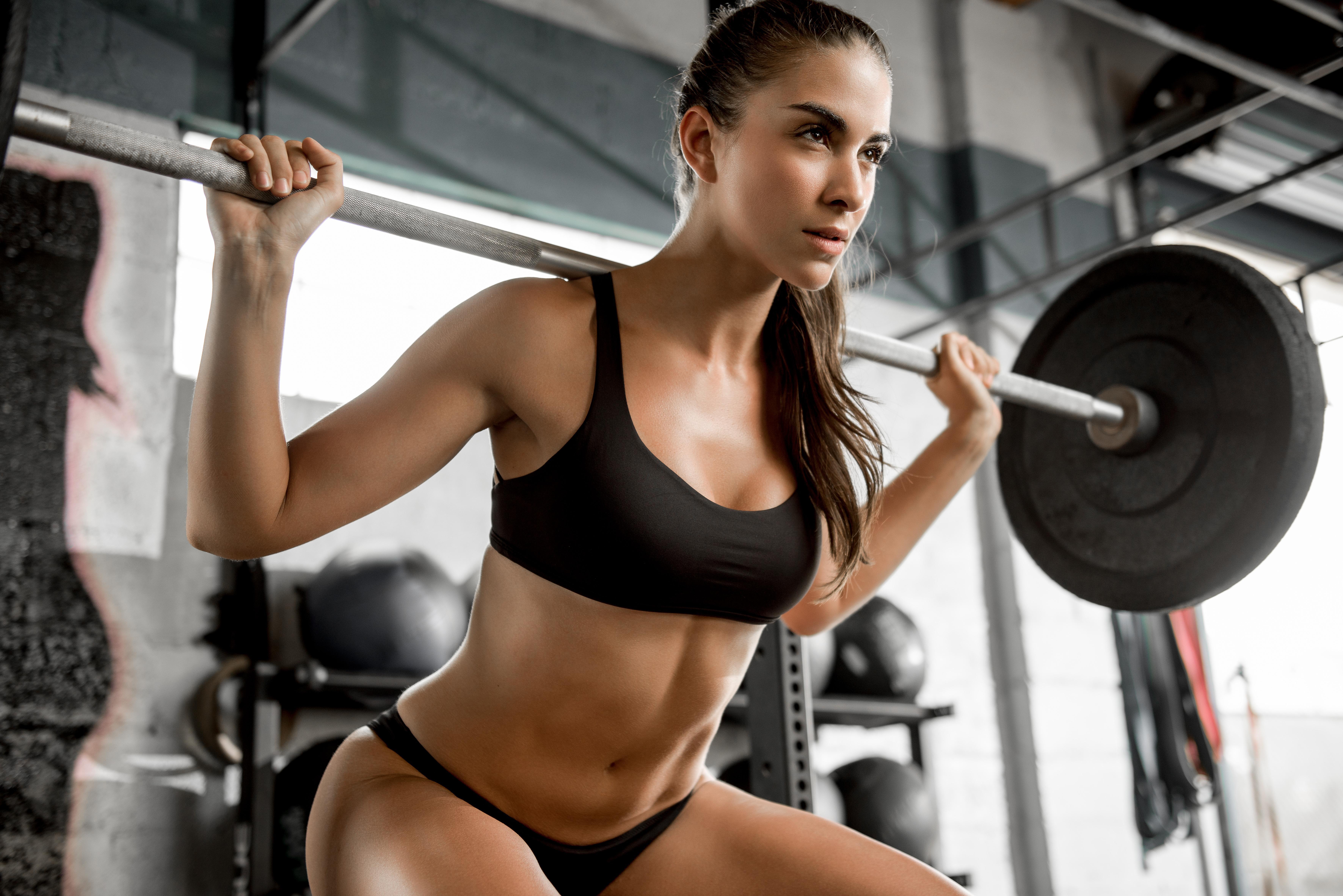 Wallpaper Women Portrait Room Tanned Gyms Fitness