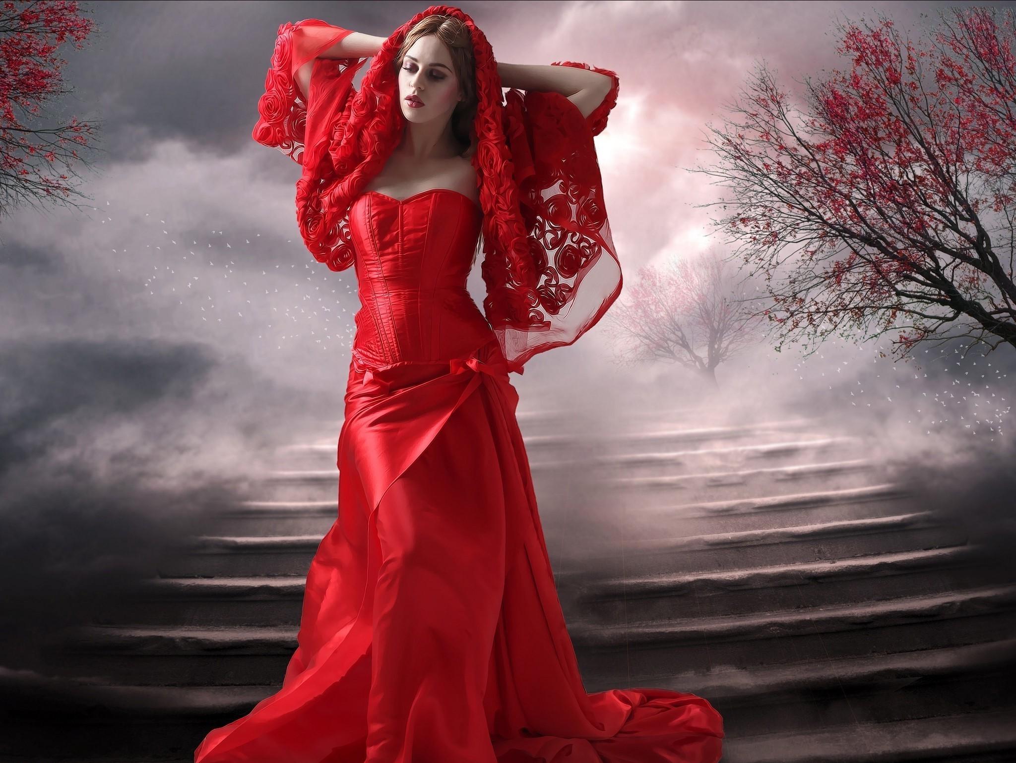 это красивая картинка леди в красном туристам, раз посещавшим