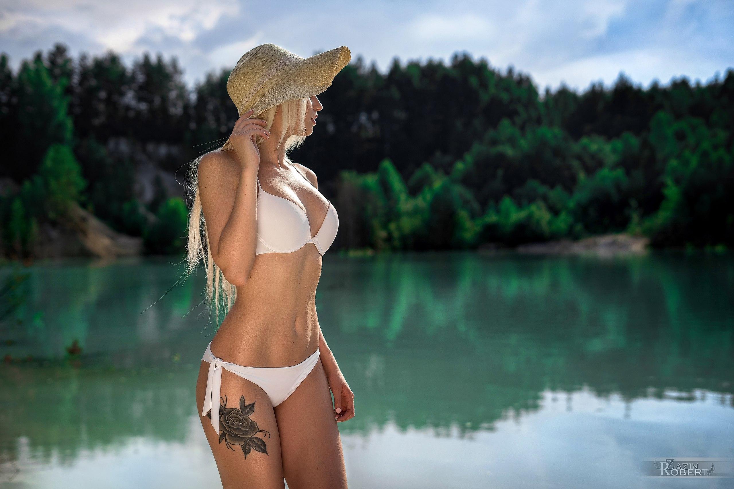 Tattoo Bikini: Wallpaper : Tanned, Hat, White Bikini, Blonde, Belly