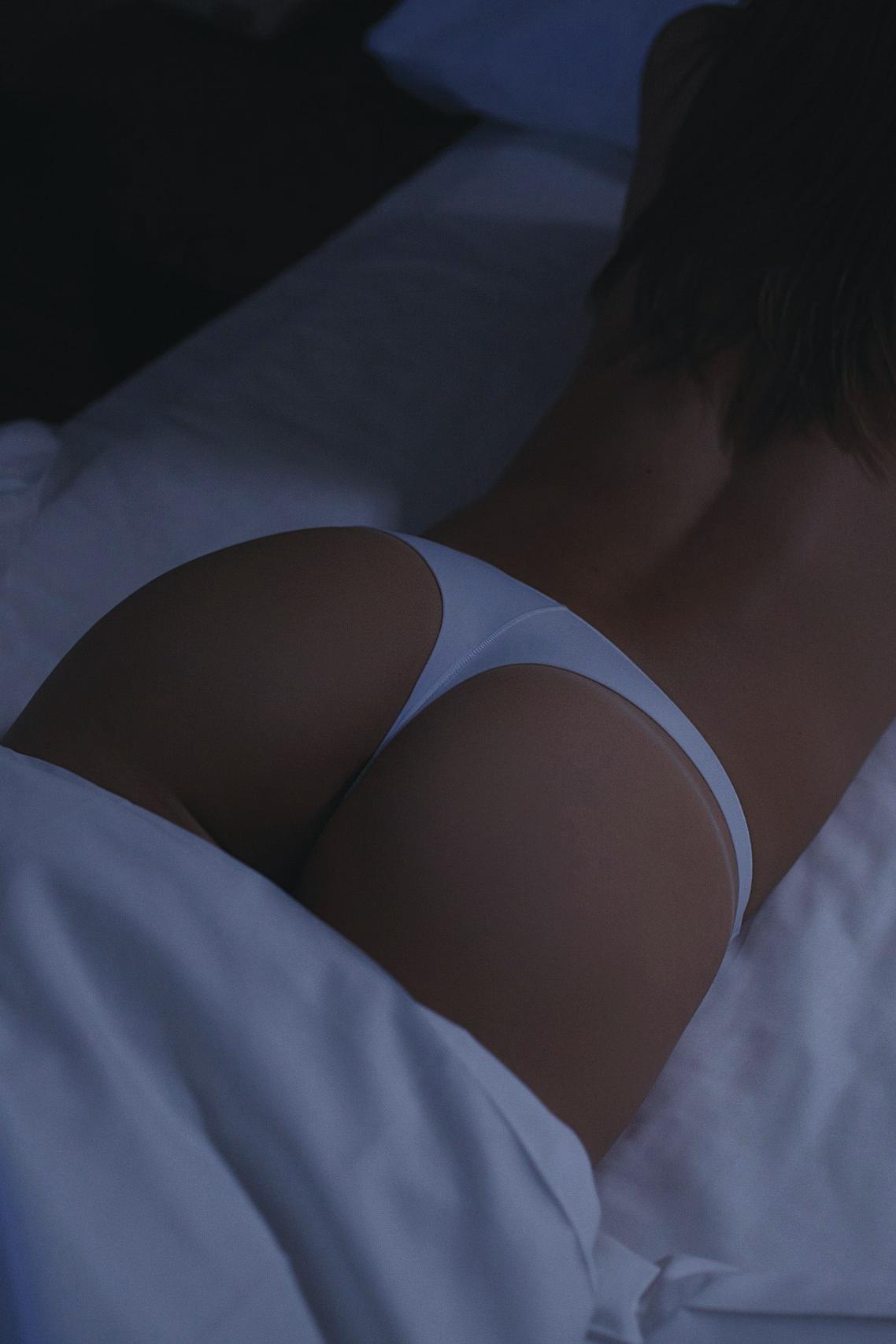 Women White Bikini Fitness Model Thong Panties