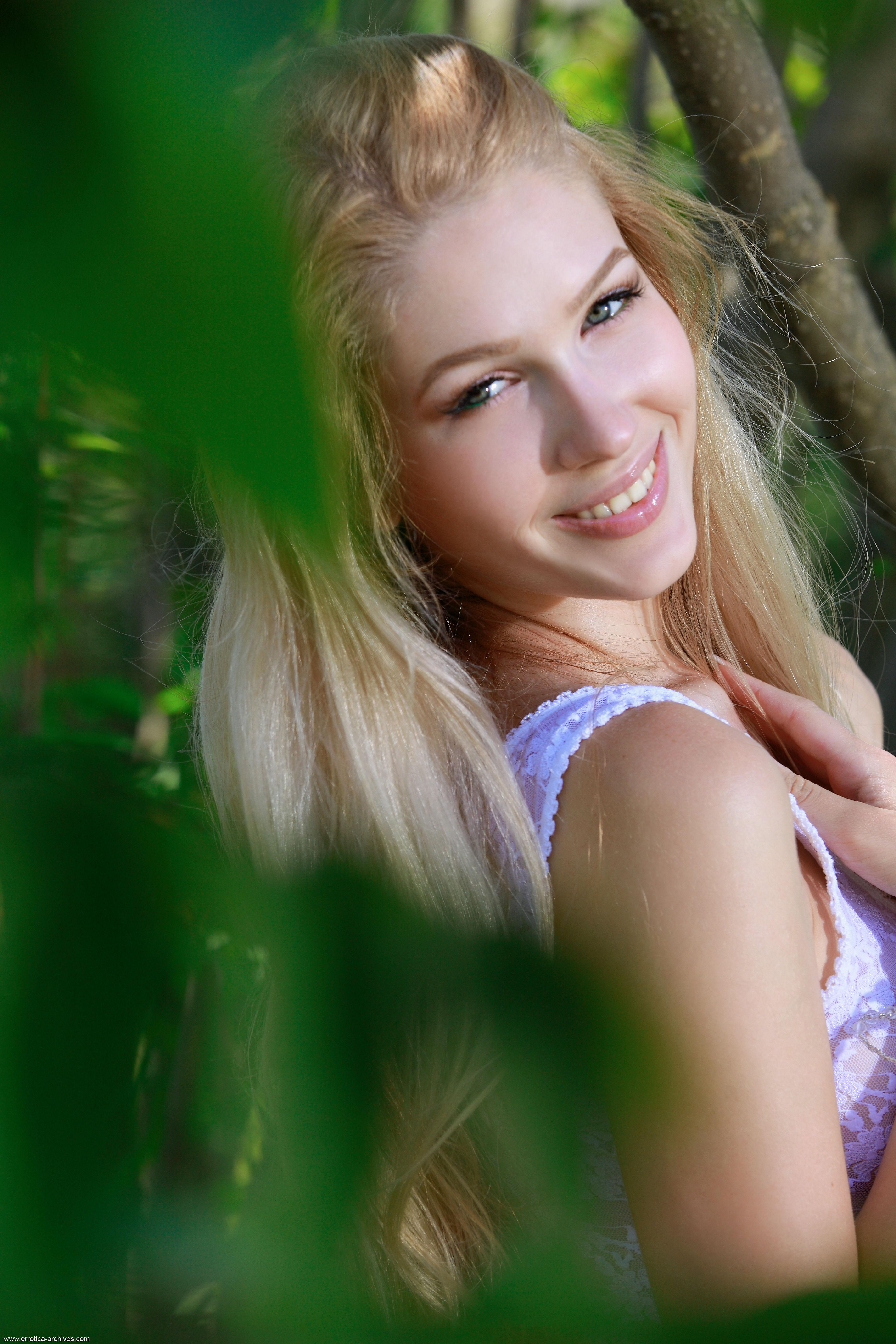 Women Women Outdoors Marianna Merkulova Blonde Errotica Archives Bodysuit See Through Clothing Face Smiling Portrait Display